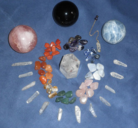 Picture of crystals on a table