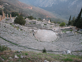 Photo Looking across of the forum at Delphi in Greece
